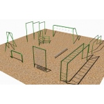 SportsPlay 9 Station Fitness Course with Horizontal Ladder: Painted - Playground Fitness Equipment