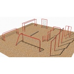SportsPlay 9 Station Fitness Course with Jr. Horizontal Ladder - Playground Fitness Equipment