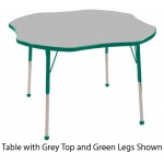ECR4Kids Adjustable Activity Table: Clover, Grey Top with Green Edge Banding and Legs, Chunky, 48""