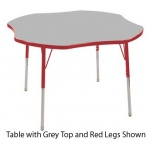 ECR4Kids Adjustable Activity Table: Clover, Grey Top with Red Edge Banding and Legs, Chunky, 48""