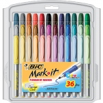 Bic Mark It Permanent Markers 36pk Fine Point Asstd Color