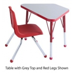 "ECR4Kids Adjustable Activity Table: Learning, Grey Top with Red Edge Banding and Legs, Chunky, 18"" x 30"""