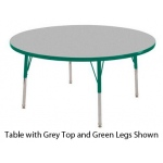 ECR4Kids Adjustable Activity Table: Round, Grey Top with Green Edge Banding and Legs, Chunky, 36""