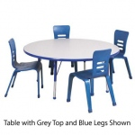 ECR4Kids Adjustable Activity Table: Round, Grey Top with Blue Edge Banding and Legs, Chunky, 48""