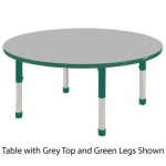 ECR4Kids Adjustable Activity Table: Round, Grey Top with Green Edge Banding and Legs, Chunky, 48""