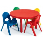 Angeles® Value Table Round Table: Candy Apple Red