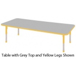 "ECR4Kids Adjustable Activity Table: Rectangular, Grey Top with Yellow Edge Banding and Legs, Chunky, 30"" x 72"""