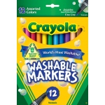 Crayola Washable Markers 12ct Asst Colors Fine Tip