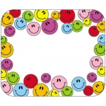 Name Tags Multicolored Smiley 40/pk Faces Self-Adhesive