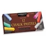 12ct Assorted Color Artists Chalk Pastels Lift Lid Box