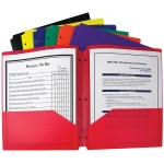 Bx Of 36 Two Pocket Poly Portfolios Three Hole Punch Assorted Colors