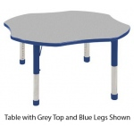 ECR4Kids Adjustable Activity Table: Clover, Grey Top with Blue Edge Banding and Legs, Chunky, 48""
