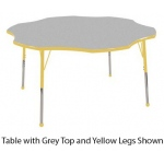 ECR4Kids Adjustable Activity Table: Flower, Grey Top with Yellow Edge Banding and Legs, Chunky, 60""