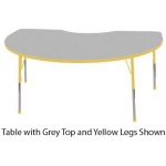 "ECR4Kids Adjustable Activity Table: Kidney, Grey Top with Yellow Edge Banding and Legs, Chunky, 48"" x 72"""