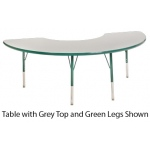 "ECR4Kids Adjustable Activity Table: Half Moon, Grey Top with Green Edge Banding and Legs, Chunky, 36"" x 72"""