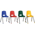 ECR4Kids Stack Chair: Chrome Legs, Assorted, 6 Pieces, 16""