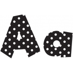 4in Fun Font Letters Black Polka Dot