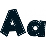 4in Fun Font Letters Black Stitch