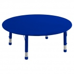 "ECR4Kids 45"" Round Resin Adjustable Activity Table: Blue"