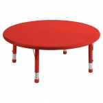 "ECR4Kids 45"" Round Resin Adjustable Activity Table: Red"