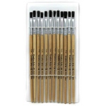 Brushes Stubby Easel Flat 1/4in Natural Bristle 12ct