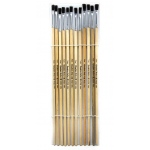 Brushes Easel Flat 1/4in Bristle 12ct