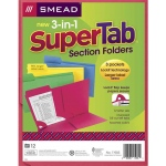 Smead 3 N 1 Supertab Section Asstd Colors Folder