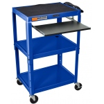 Luxor Adjustable Height Steel Cart with Pullout Keyboard Tray: Blue