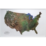 "American Education U.S. Satellite Image Relief Map: 34"" x 21"", Gold Frame"