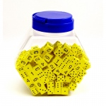 16mm Foam Dice Tub Of 200 Yellow Spot & Number
