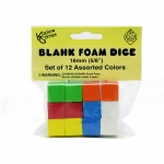 16mm Foam Dice 12pk Assorted Color Blank