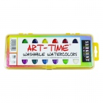 16 Art Time Semi Moist Washable Colors W/ Brush