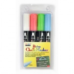 Bistro Chalk Markers Brd Tip 4 Clr Set White Fluorescent Red Blue Grn