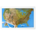 "Hubbard Scientific Raised Relief Map: U.S. NCR Series, 34"" x  22"""