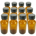 Boston Round Amber Bottles: 1 oz., 20/400 with Cap, Pack of 12