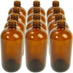 Boston Round Amber Bottles: 16 oz., 28/400 with Cap, Pack of 12