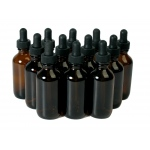 Amber Bottles Boston Round with Dropper Assemblies: 2 Oz., 20/400, Pack of 12
