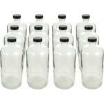 Boston Round Flint Bottles with Cap: 32 Oz., 33/400, Pack of 12