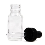 French Square Flint Bottle with Dropper: 1/2 Oz., 20/400, Pack of 12