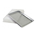 "Ginsberg Aluminum Dissecting Pan with Cover and Off White Pad: 11.25"" x 7.5"" x 1.5"""