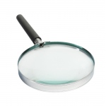 "Chrome Rim & Plastic Black Handle Magnifier: Diameter 4"", 1.5 X"