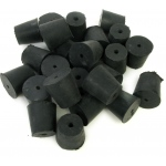 1-Hole Blue Rubber Stoppers: Size # 4, 28 Pieces (1 lbs)