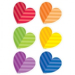 Rainbow Hearts 3in Cutouts