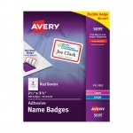 Self Adhesive Name Badge Labels White With Red Border