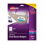 Self Adhesive Name Badges Wht Oval