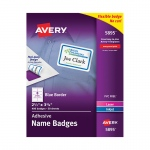 Self Adhesive Name Badges Wht Rect With Blue Border