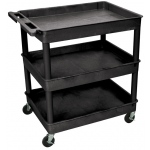 Luxor Large Tub Cart 3 Shelves: Black