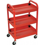 Luxor  Utility Cart Three Shelf Adjustable: Red