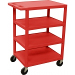 Luxor Four Flat Shelf Strutural Foam Plastic Cart: Red