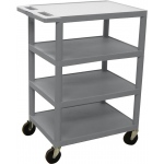Luxor Four Flat Shelf Strutural Foam Plastic Cart: Gray